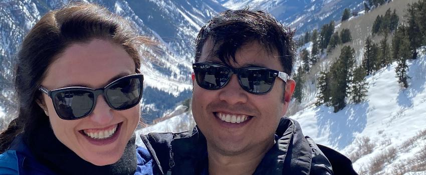 Dr. Tony Tran with his wife, Nicole, in Colorado.