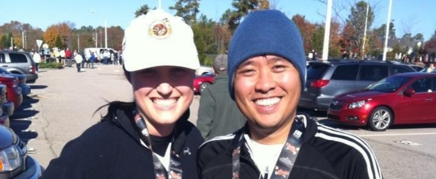 Drs. Tony and Nicole Tran after a race.