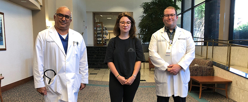 Patient Holly Daugherty met with Patrick Cody, DO, Norman Regional emergency medicine physician, and Mehran Shahsavari, MD, internal medicine hospitalist, to personally thank them for saving her life almost one year ago.