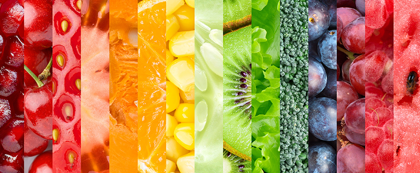 Blocks of a variety of bright colored fruits and vegetables.