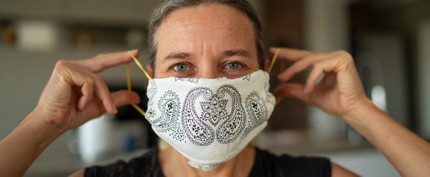 Woman wearing a homemade mask